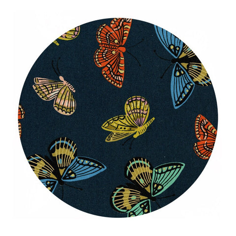 1 meter left! - Monarch in Navy Canvas Metallic - English Garden by Rifle Paper Co. - Cotton + Steel Fabrics