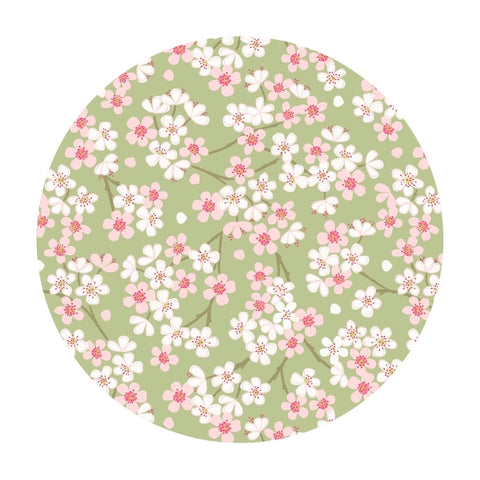 1 meter left! - Spring Blossoms in Spring Green - The Village Pond Collection - Lewis & Irene Fabrics