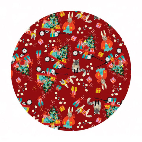 2.5 meters left! - Marshmallow Morning in Red -  A Winter's Tail Collection - Blend Fabrics