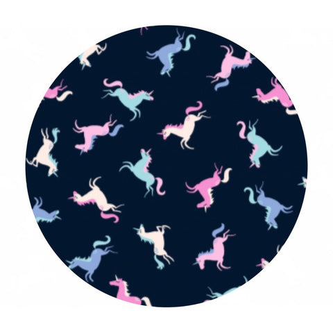 4 meters left! - Tossed Unicorns in Peacoat - Avalon Collection - Dear Stella Fabrics