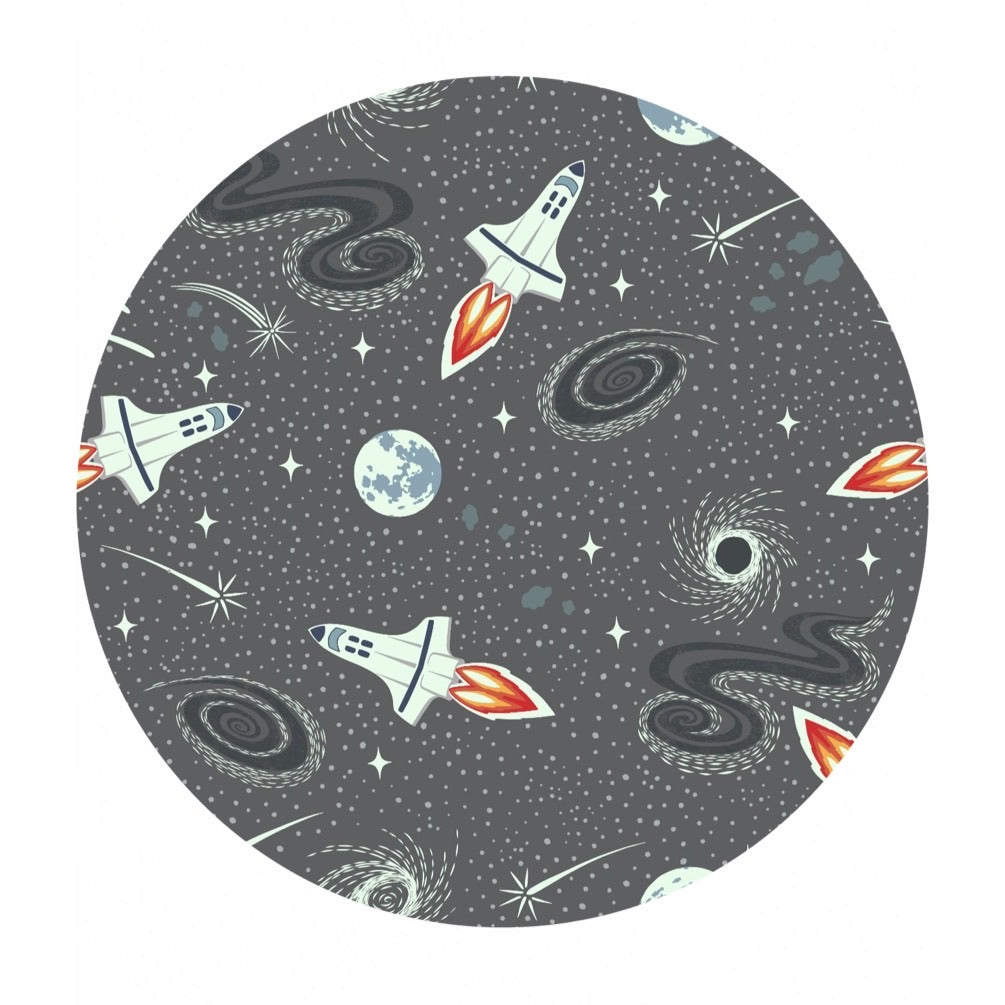 1.5 meters left! - Gray Rockets (Glow in the Dark!) - Light Years Collection - Lewis & Irene Fabrics