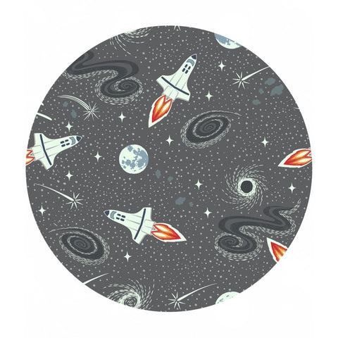 Dark Gray Rockets - Light Years Collection - Lewis & Irene Fabrics