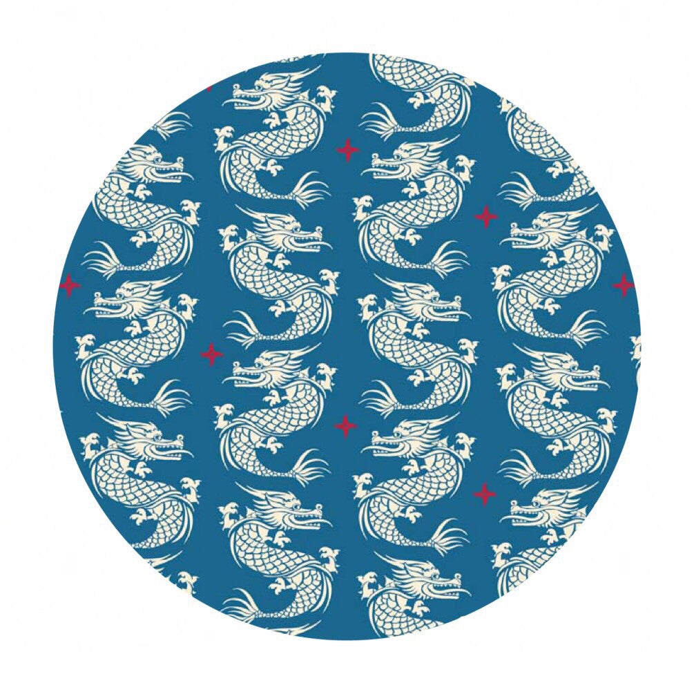 1 meter left! - Ninja Royalty Blue - Year of the Ninja - Riley Blake Designs