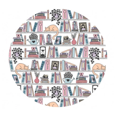 Shelfie in White - Literary Collection - Camelot Fabrics