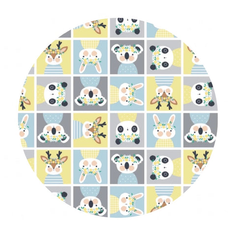Playful Animal Block in Yellow Flannel - Printed Flannel Collection - Camelot Fabrics