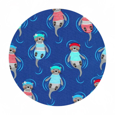 Otters in Blue - Flippers and Fins Collection- Robert Kaufman Fabrics