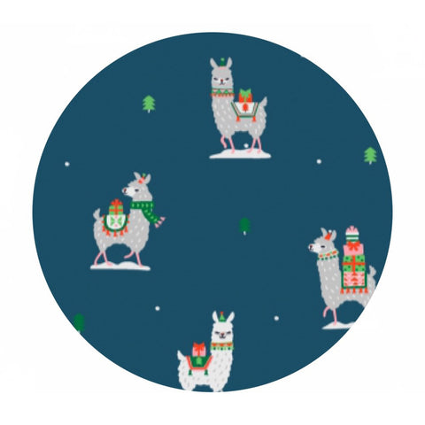 1.5 meters left! - Llama Gifts in Orion - Fa La La Llama Collection - Dear Stella Fabrics