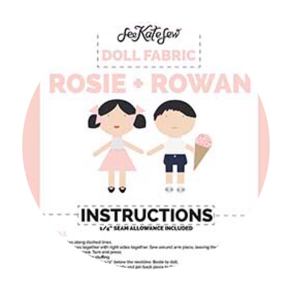 4 left! - Doll Main Pink - Rosie & Rowan - Doll Fabric Cottons - Riley Blake Designs - Each Panel Makes 2 Dolls!