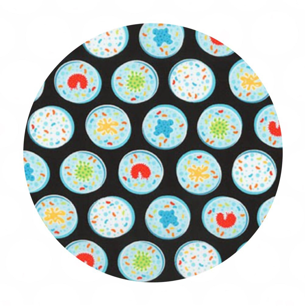 Petri Dishes in Black - Science Fair Collection- Robert Kaufman Fabrics