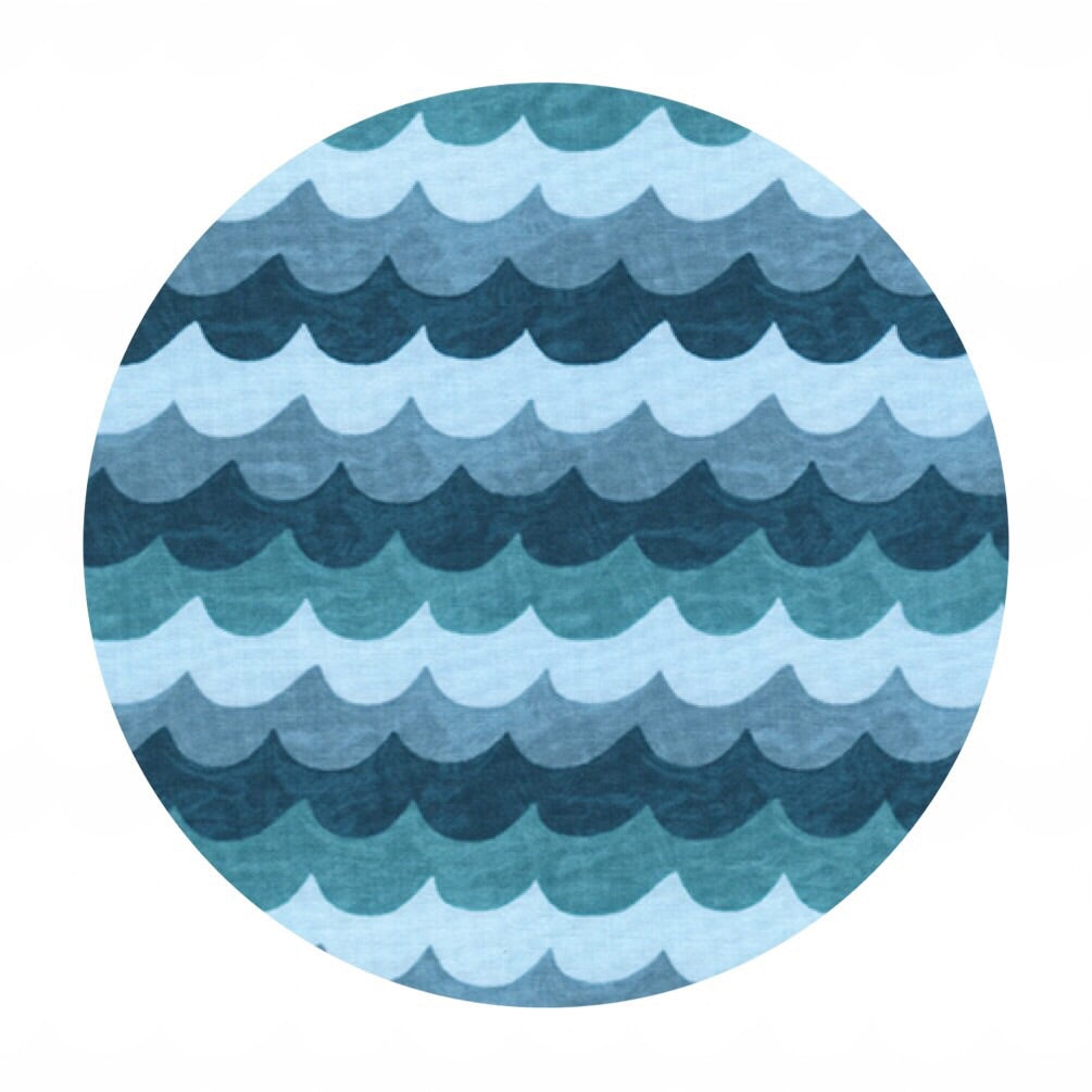 Waves Turquoise - Amalfi by Rifle Paper Co. - Cotton + Steel Fabrics