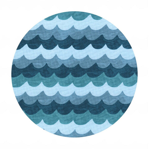 2 meters left! - Waves Turquoise - Amalfi by Rifle Paper Co. - Cotton + Steel Fabrics