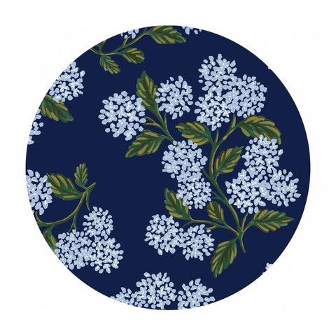 2 meters left! - Hydrangea Knit in Navy - Meadow by Rifle Paper Co. - Cotton + Steel Fabrics