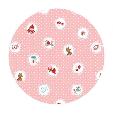 Only 1.5m left! -Scallops in Pink - Little Red Riding Hood Collection - Riley Blake Designs