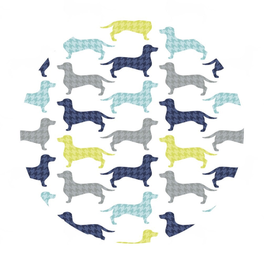 Dachshunds-tooth in White - Dog Gone It Collection - Camelot Fabrics