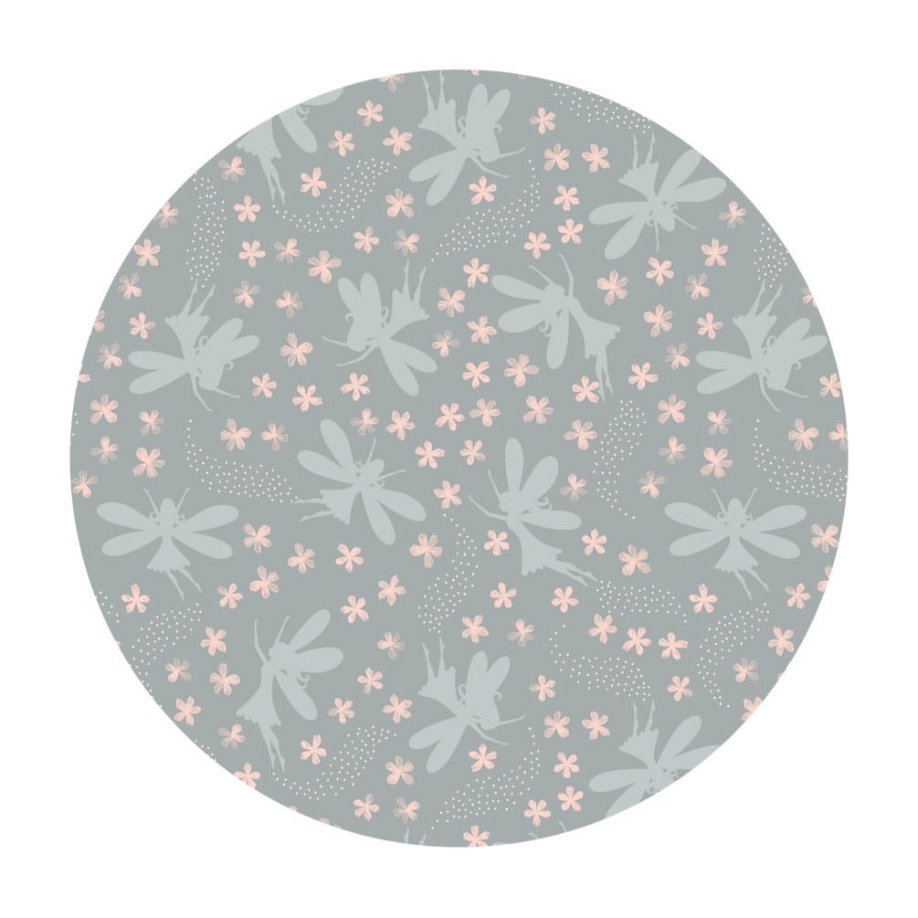 Light Gray Floral Fairies with Silver Metallic - Fairy Clocks Collection - Lewis & Irene Fabrics