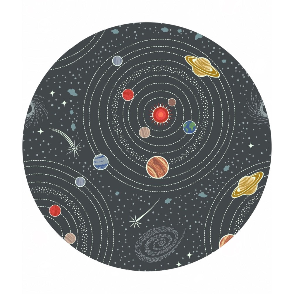 Dark Gray Planets (Glow in the Dark!) - Light Years Collection - Lewis & Irene Fabrics
