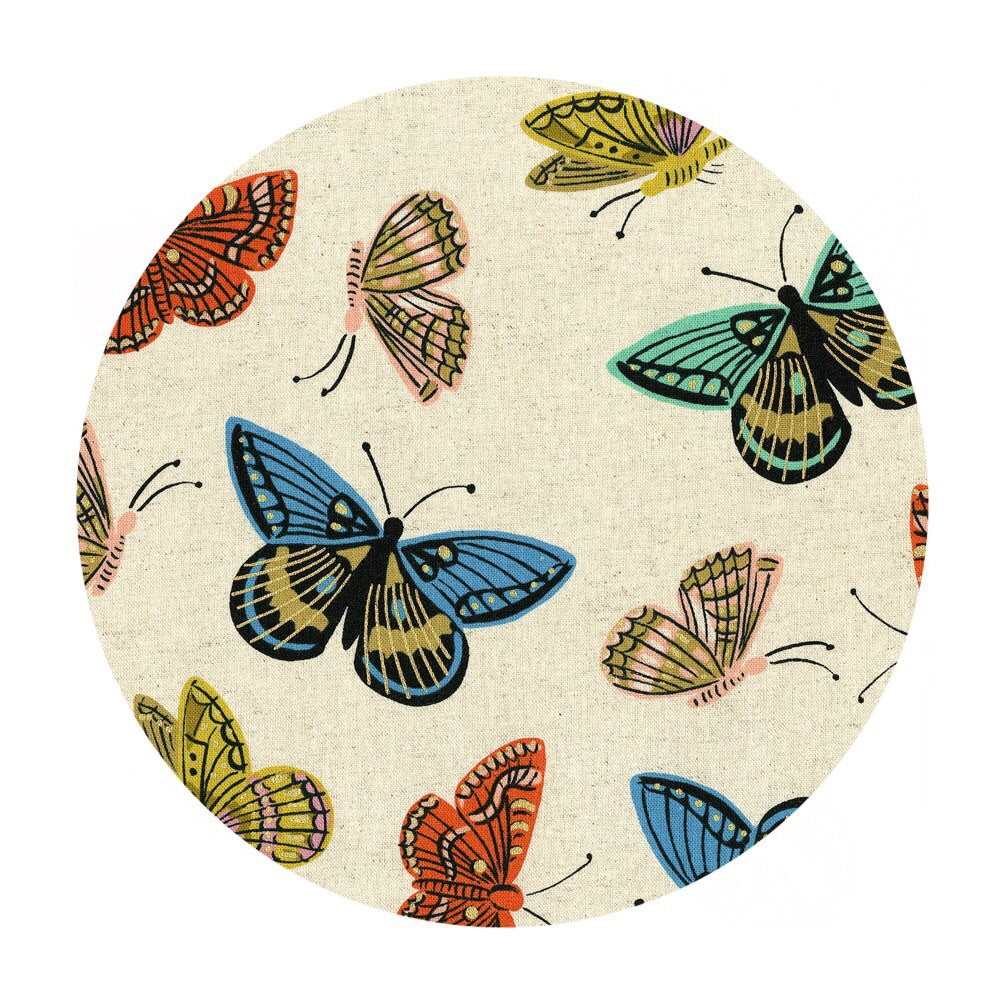 1 meter left! - Monarch in Natural Canvas Metallic - English Garden by Rifle Paper Co. - Cotton + Steel FabricsSept