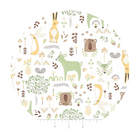 Forest Friends in Eucalyptus in Bamboo Flannel - Nursery Program Collection - Camelot Fabrics