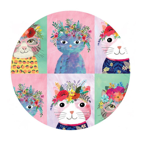 .5 meters left! - Floral Kitty Multi - Floral Pets Collection - Blend Fabrics