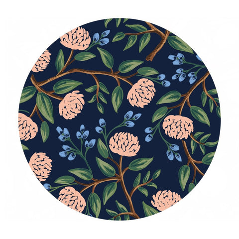 2.5 meters left! - Peonies in Navy Cotton - Wildwood by Rifle Paper Co. - Cotton + Steel Fabrics