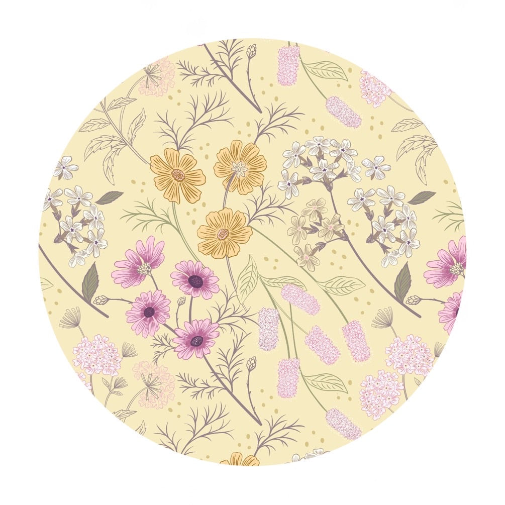 Garden Floral on Pale Yellow - Botanic Garden Collection - Lewis & Irene Fabrics