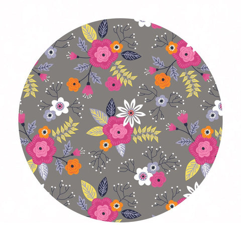 1 meter left! -  Paradise Flower in Gray Flannel - Camelot Fabrics