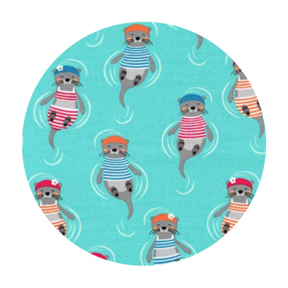 Otters in Aqua - Flippers and Fins Collection- Robert Kaufman Fabrics