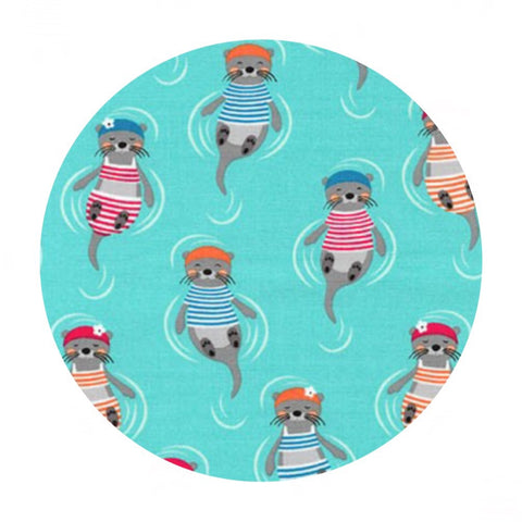 4 meters left! - Otters in Aqua - Flippers and Fins Collection- Robert Kaufman Fabrics