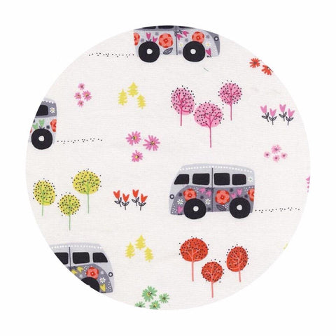 1.5 meters left! - Hit the Road Happy Pink - Road Trip Collection - Michael Miller Fabrics