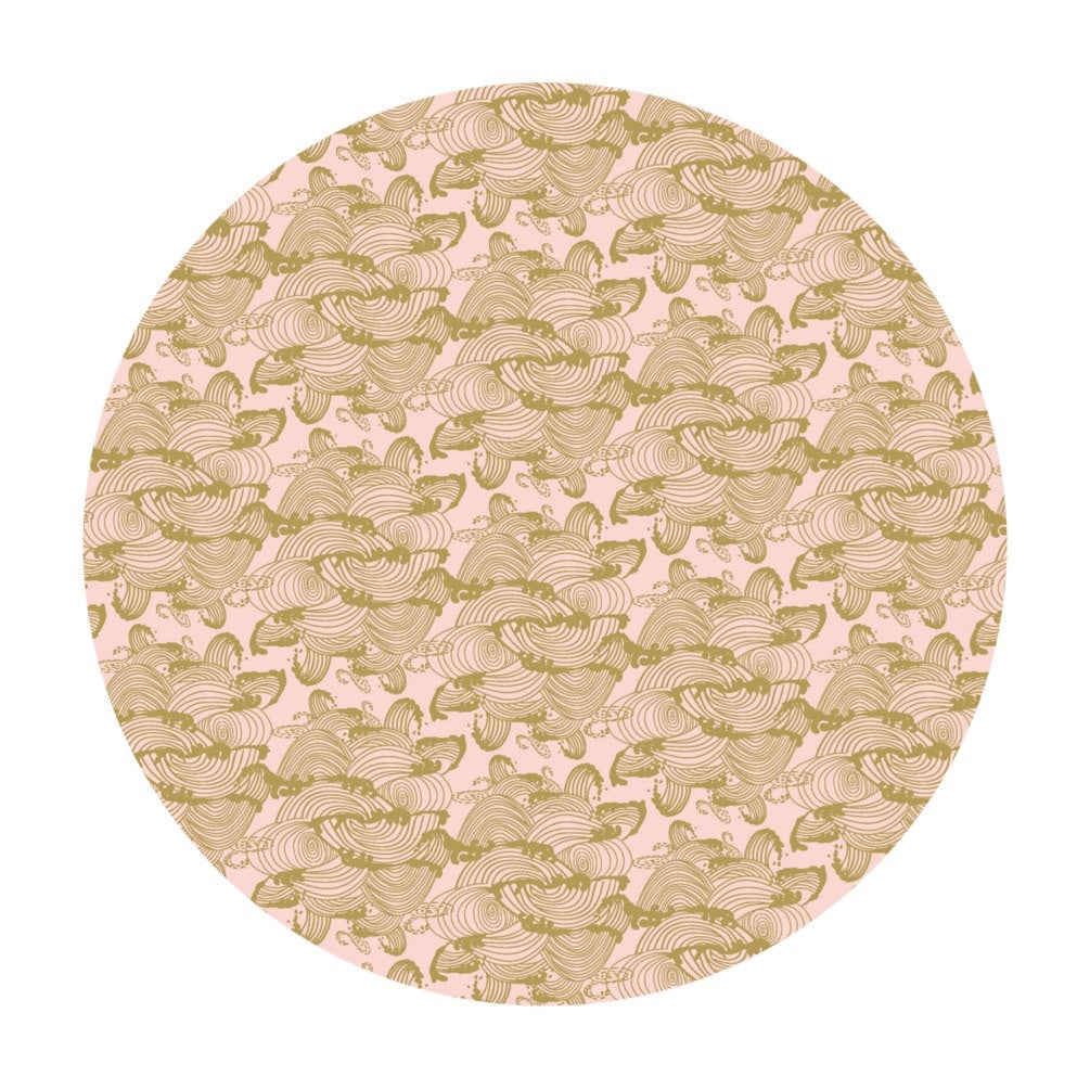 Waves in Pink Gold Metallic - Mystic Cranes Collection - Camelot Fabrics