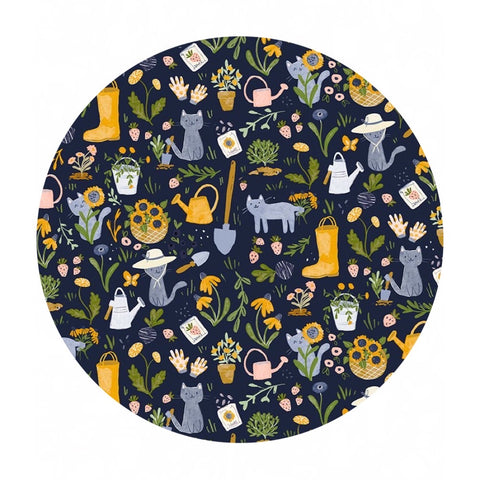 Gardening Cats in Navy - Meant to Bee Collection - Dear Stella Fabrics