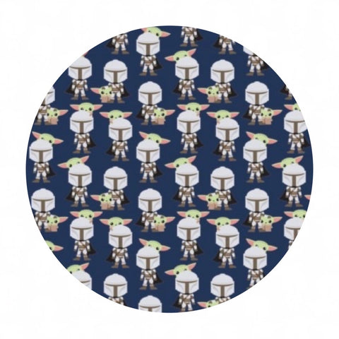 1 meter left! - Mando Hello Friend in Navy - Mandalorian Collection 2 - Camelot Fabrics