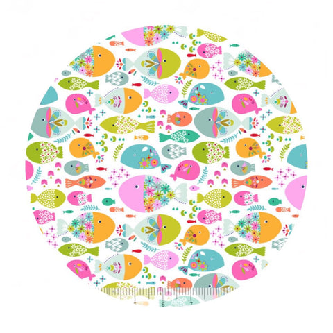 Swimming with the Fishes White - Go Fish Collection - Blend Fabrics