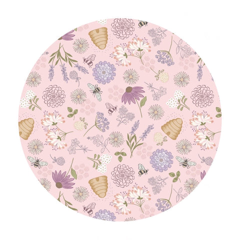 Bee Floral on Pink - Queen Bee Collection - Lewis & Irene Fabrics