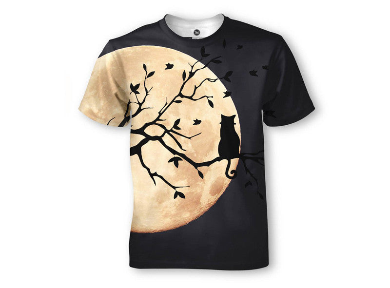 Cat Full Moon Branch T-Shirt