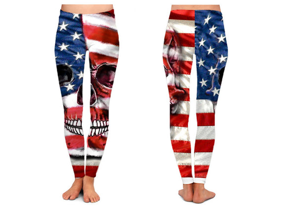 Patriotic Skull Leggings