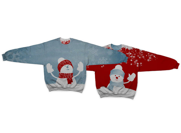 Snow Man Reversible Crew Neck Sweatshirt