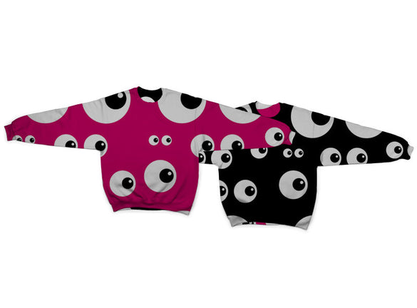 Eyes Pink Eyes Black Reversible Crew Neck Sweatshirt