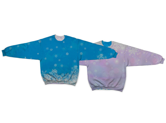 Snow Flake Reversible Crew Neck Sweatshirt