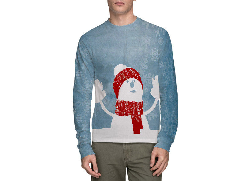Snow Man Blue Long Sleeve T-Shirt