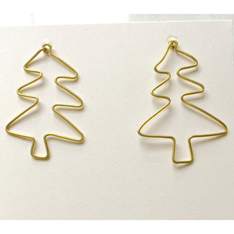 Tree Outline Earrings (Brass)