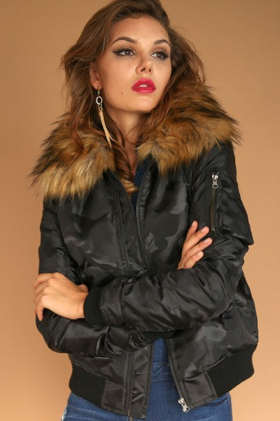 Women's Camo Bomber Jacket With Fur