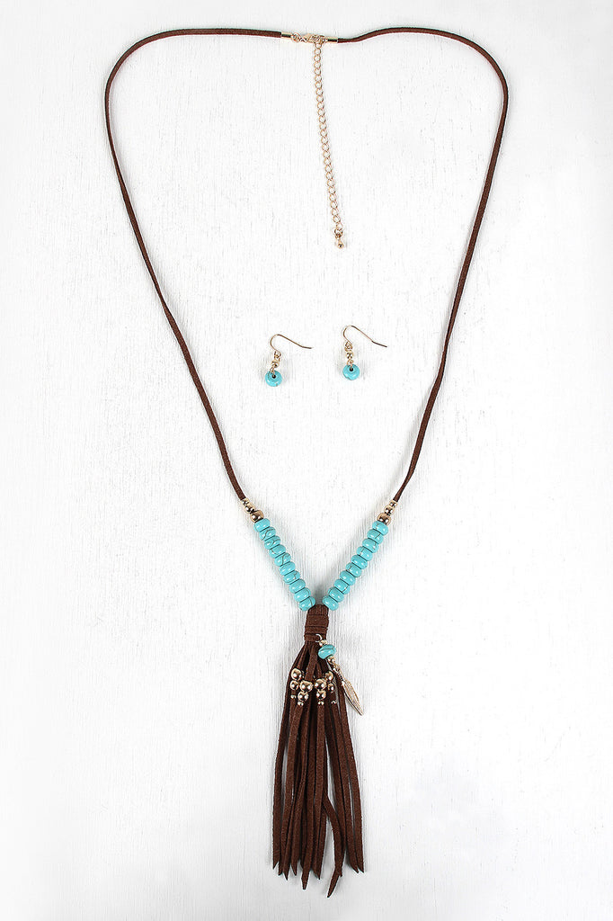 Beads And Feather Suede Fringe Necklace Set