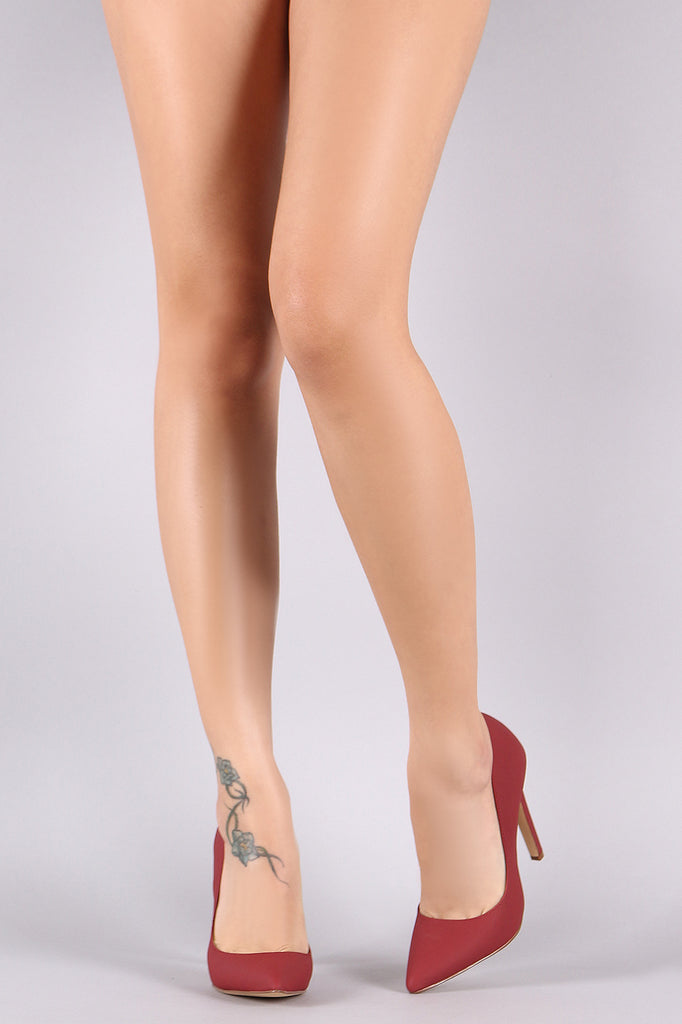 Nubuck Pointy Toe Single Sole Pump