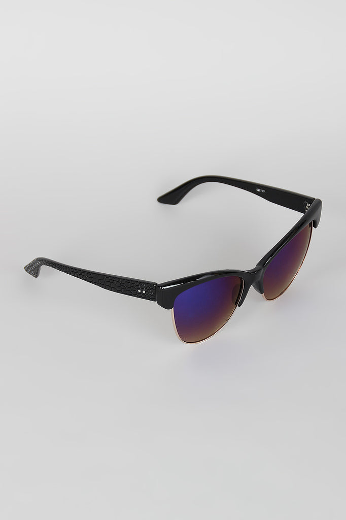 Semi-Rimless Wild Cat Textured Sunglasses