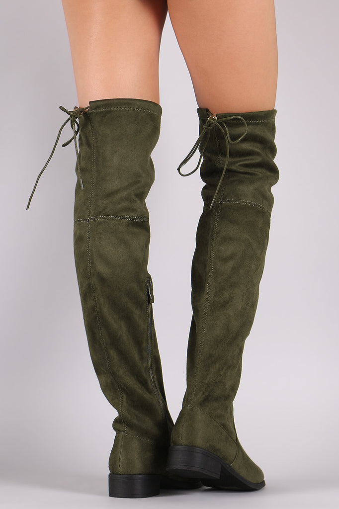 Round Toe Drawstring Tie Riding Suede Over-The-Knee Boots