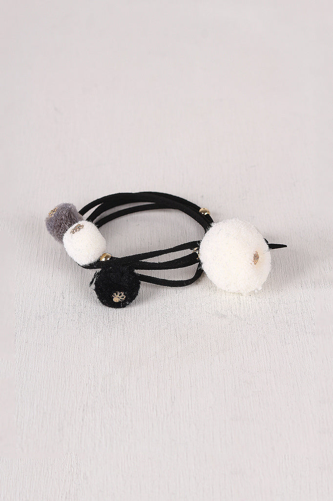 Vegan Leather Pom Pom Wrap Bracelet