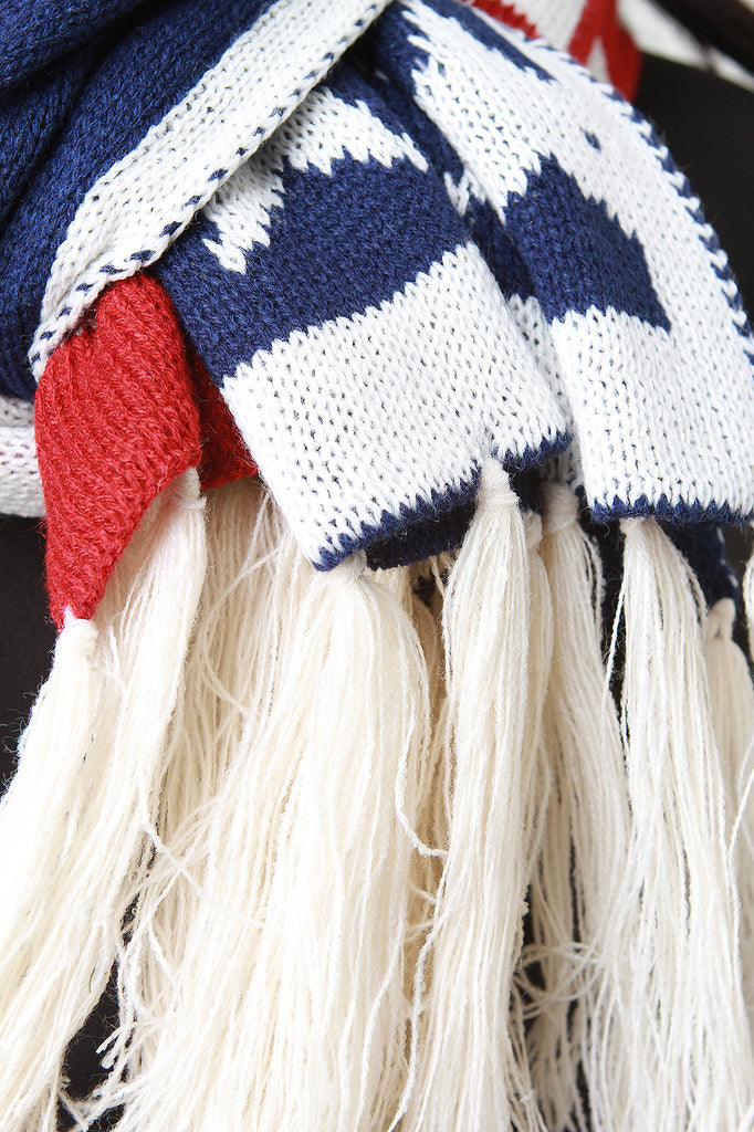 Stars And Stripes Fringe Hem Scarf
