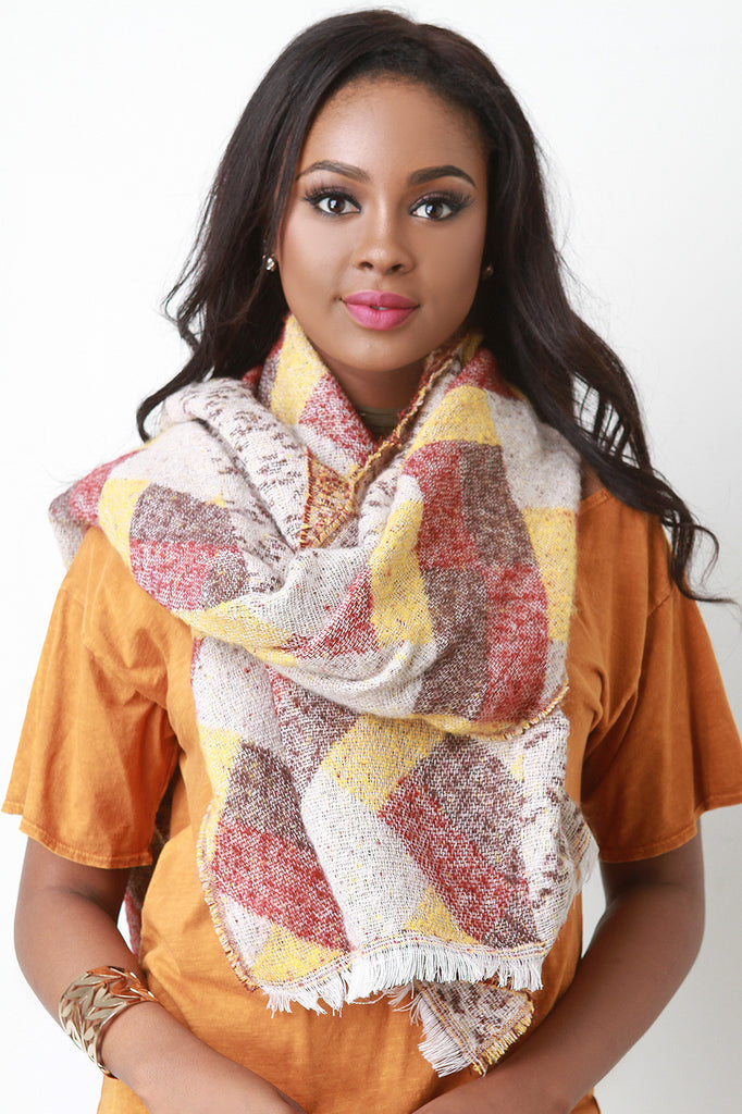 Woven Color Block and Chevron Pattern Oversize Scarf