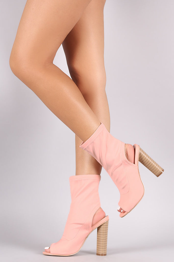 Elastane Peep Toe Cutout Chunky Heeled Booties
